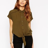 ASOS Sleeveless Tie Front Blouse with Pom Trim