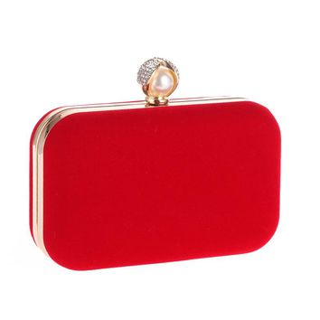 Mixed Candy Velvet Women Evening Bags Pearl Imitation Lady Handbags Small Day Clutches Purse Evening Bag For Wedding