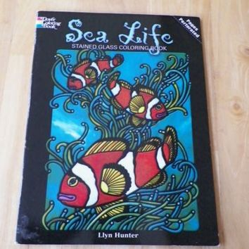 Sea Life Stained Glass Coloring Book by Llyn Hunter Great Condition