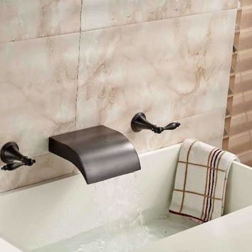 Luxury Oil Rubbed Bronze Roman Waterfall Bathroom Basin Faucet 3 Holes Face Tap