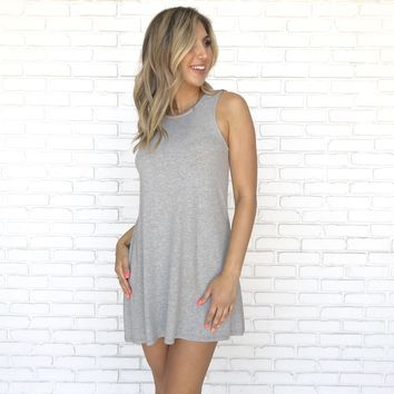 Relax In The Sun Jersey Tee Dress In Grey