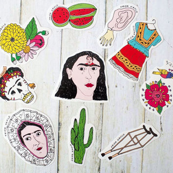 Frida Kahlo Sticker Pack / Hand drawn Illustration Art Mexico Skull Day Of The Dead Dia De Muertos Cactus Mexican Dress Gift Christmas