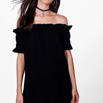 Katie Off The Shoulder Frill Sleeve Dress | Boohoo