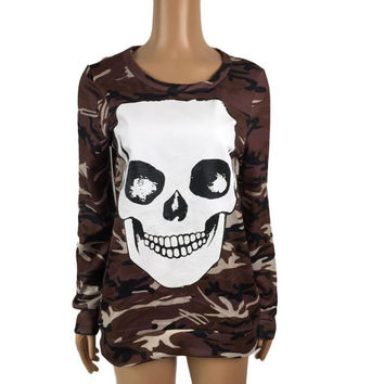 New Fashion Skull T shirt Camouflage Print Women Long Sleeve  Tee Tops O-Neck T-Shirts Women Clothes camiseta mujer SM6