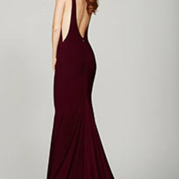 Burgundy Low Back Prom Dress #37592