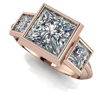 Russian Brilliants Princess Cut Three Stone Ring - Bezel Set Ring - Customize Your Ring