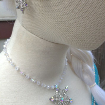 Elsa Snowflake AB Winter Wedding Necklace & Earring Set