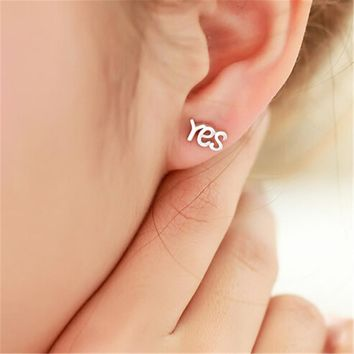925 silver yes and no tiny studs earrings gift box  number 1