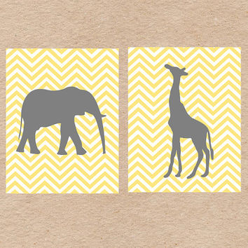 Chevron Jungle Animals Nursery Wall Art DIY Printable Set- Giraffe and Elephant- Yellow & Gray