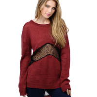 Knitted Sweater with Lace Accent