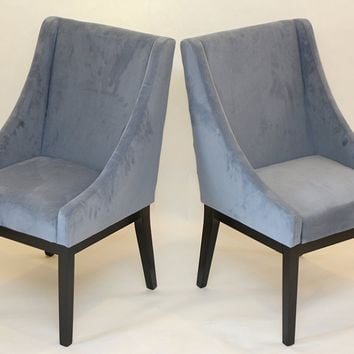 New Century® Set of 2 Contemporary Blue Microfiber Accent Chairs