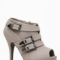 Anne Michelle Buckle Peep Toe Booties