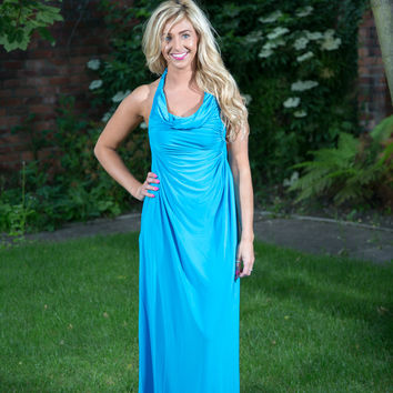 Aqualina Turquoise One Shoulder Cut Out Ruched Maxi Dress