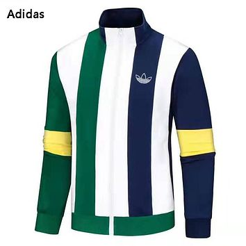 Adidas Fashion New Letter Print Stripe Sports Leisure Long Sleeve Coat Men