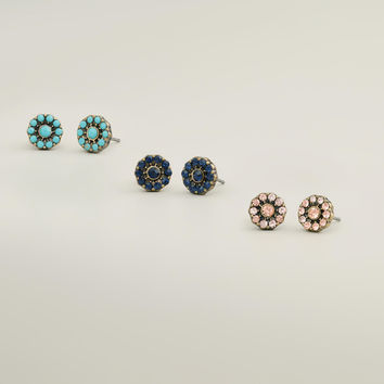 Turquoise, Blue and Pink Stud Earrings, Set of 3 - World Market