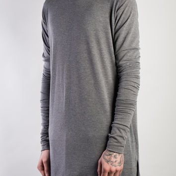 LONG SLEEVE DROP BACK T-SHIRT GREY