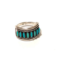 Zuni Turquoise Needlepoint Ring, Sterling Silver, Vintage 1960s, Native American Jewelry, Edith Tsabetsaye Style, Collectible