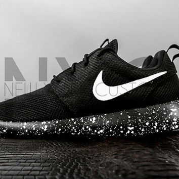 134a3593b3a60 Oreo Nike Roshe One Run Black White Splatter Speckle Custom