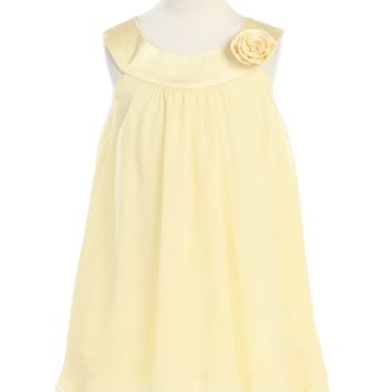 Girls Yellow Chiffon Shift Dress with Satin Trimmed Yoke Bodice 2T-14