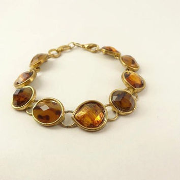 Amber and Gold Toned Bracelet Wonderful by toppytoppy on Etsy