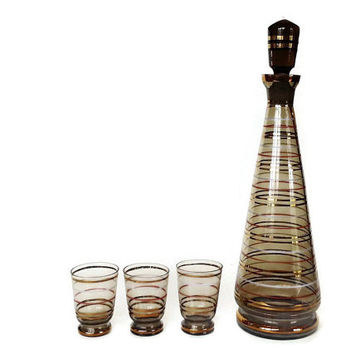 Decanter Set, Stripes, Shot Glasses, Mid Century, 1960s