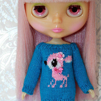 Neo BLYTHE - Dear DEER Sweater Tunic - Rose Pink - Turquoise