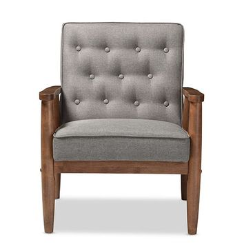 Baxton Studio Sorrento Mid-century Retro Modern Grey Fabric Upholstered Wooden Lounge Chair Set of 1
