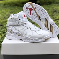 Air Jordan 8 OVO White/Gold Basketball Shoes 41---47.5
