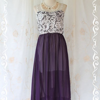 Lady And Floral  Maxi Dress Purple With by LovelyMelodyClothing