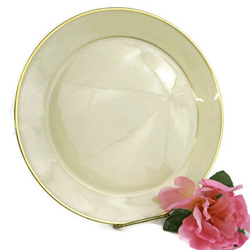 Vintage China Plates - Lenox China - Diner Plates - White Reverie - 10 inch Dinner Plate - Gold Trim