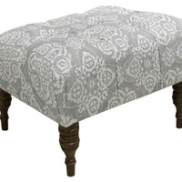 Boyd Tufted Ottoman, Gray/Cream, Entryway Bench, Bedroom Bench