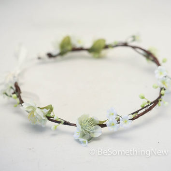 Bohemian Flower Hair Wreath Rustic Flower Crown. Wedding Flower Headpiece, Ivory Rustic Flower Wreath