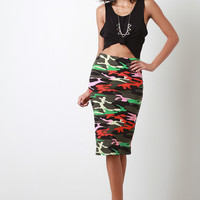 Colorful Camouflage Print Midi Pencil Skirt