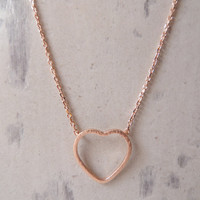 Rose gold heart necklace...dainty handmade necklace, everyday, simple, birthday,  wedding, bridesmaid jewelry