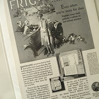 1927 Frigidaire Vintage Print Ad / B & W Vintage Ad / Home Decor / Ready To Frame / Paper Ephemera / Holiday Gift