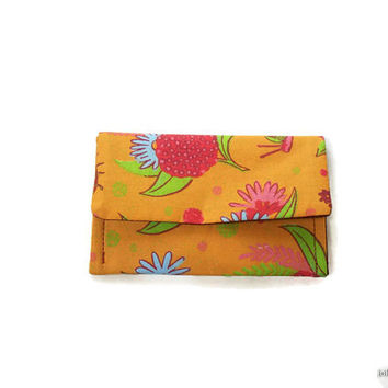 Orange Splendid Floral Print  Case Frequent Shopper Credit Card Wallet