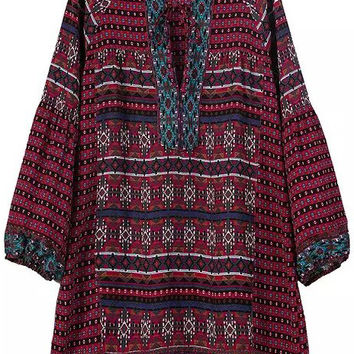 Red Geometric Print V-Neck Long Sleeve Blouse