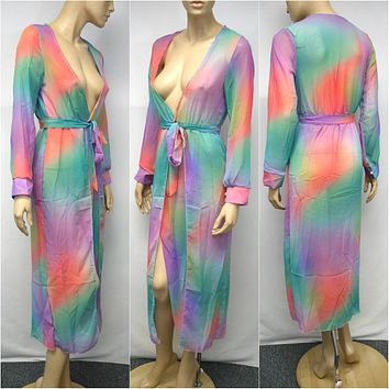 Sheer Pastel Cotton Candy Print Swimsuit Bikini Beach Cover Up Dress