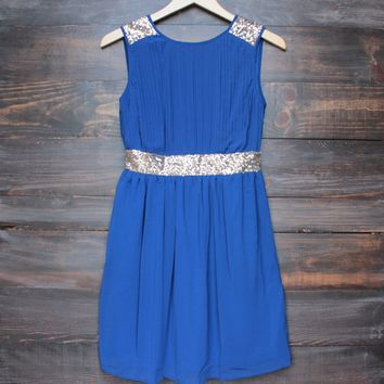 FINAL SALE - stepping out pleated dress with gold sequin - in cobalt blue