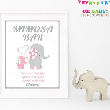 Mimosa Bar Baby Shower Sign Pink Gray Elephant Printable Girl Instant Download Baby Decor Baby Shower Table Sign 8x10 Mimosa Sign EL0005-lp