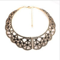 Lace Designs Gray Crystals Collar Choker Necklace