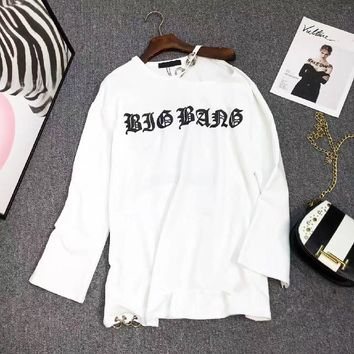 """Chrome Hearts"" Women Personality Cross Pattern Retro Letter Print Hollow Long Sleeve Sweater T-shirt Tops"