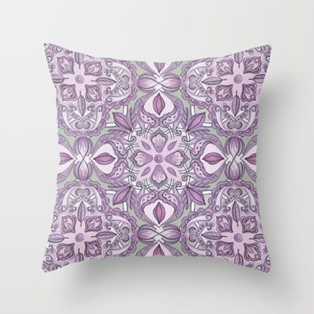 Lavender & Grey - Colored Crayon Floral Pattern Throw Pillow by micklyn