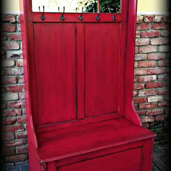 Hall Tree Bench Entryway Shabby Chic Rustic