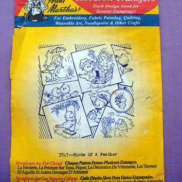 "Aunt Martha's ""Birds of a Feather"" Hot Iron Transfer Pattern 3747 for Embroidery, Fabric Painting, Crafts"