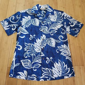 Blue with Monstera Leaves Boys Button Down Hawaiian Shirt