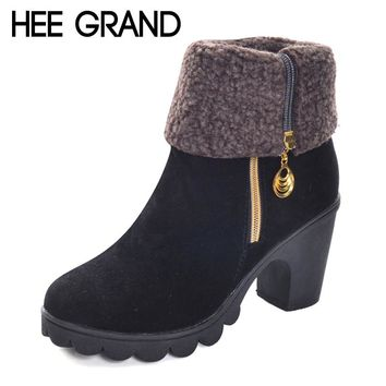 HEE GRAND Fleeces Warm Rubber Women Ankle Boots