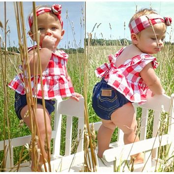 Precious Three Piece Denim Set with Checkered Top for Your Little Cowkid
