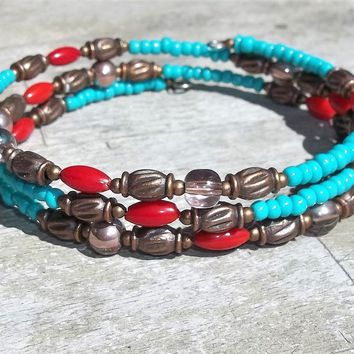 "Turquoise & Red Coral Beaded Copper Beaded UNISEX Plus Size Wrap Bracelet, XL Bracelet,Size 8""-8.75"", Adjustable Bracelet, Birthday Gift"