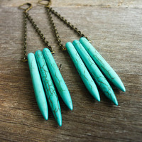 Turquoise Howlite Spikes Dagger Long Earrings by AstralEYE on Etsy